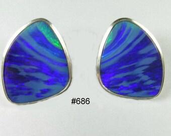 Australian opal, stud ,earrings