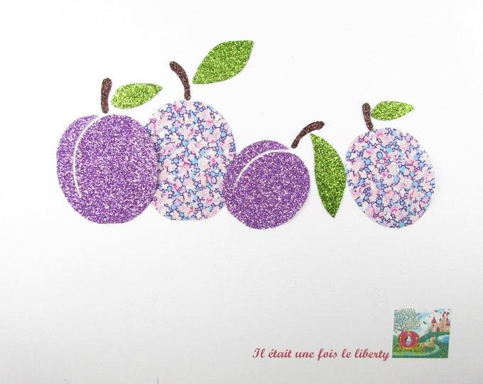 Applied fusing plum fabric liberty purple flex Pepper glittery patch pixel pattern fruit was customisation kitchen apron