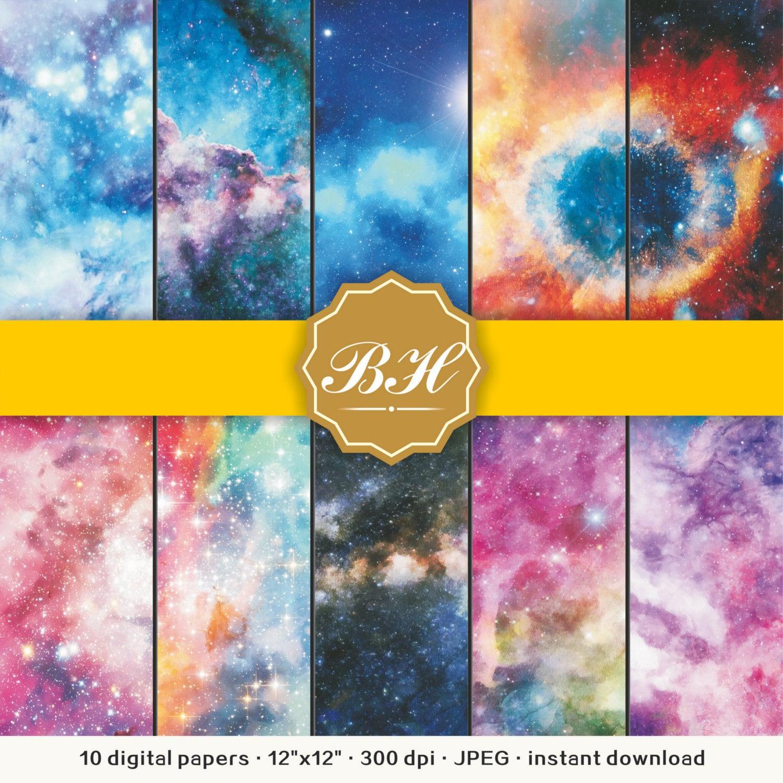 Watercolor Nebula Galaxy Digital Paper Space Digital Paper