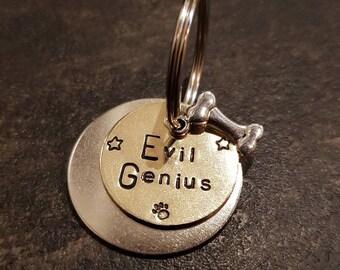 Evil Genius hand stamped dog tag pet tag ID