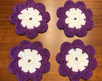 Purple Flower Crocheted Coasters