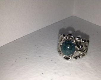 Agate in Silver Filigree Ring