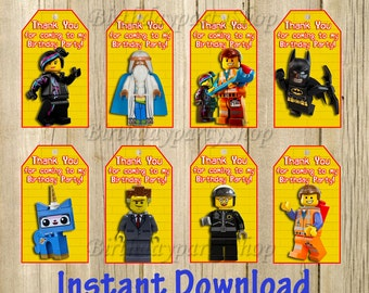 The Lego Movie Favor Tag, Lego Thank You Tags, Instant Download, Digital File