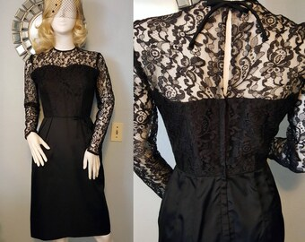 1950s 1960s vintage black lace wiggle dress vampy goth sweetheart illusion 50s 60s mid century S