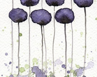 Watercolor Painting: Watercolor Flower Painting -- Art Print --  A Bit Shy -- 5x7