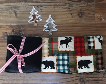 Rice Heat Pack. Flannel heating pad. Neck wrap. Ankle wrap. Heating Pad. Gift for Men. Bears and Moos. the bear Lodge