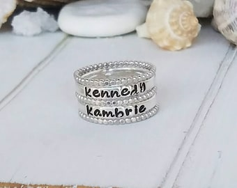 Sterling Silver Stacking Rings, Set of 5, Personalized Name ring , Hand Stamped rings, Stackable Name Rings, Mother ring, Custom Name Ring