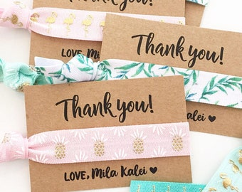 Luau Baby Shower + Birthday Hair Tie Favors | Flamingo Baby Shower Hair Tie Favor, Tropical Pineapple Baby Shower + Birthday Hair Tie Favors