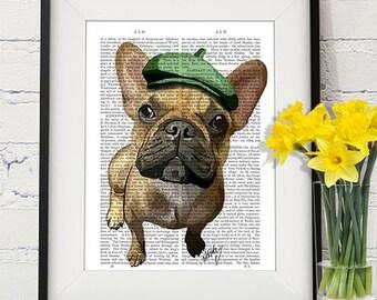 French Bulldog print Green Hat - French bulldog art french bulldog gift frenchie print cute nursery dog print Kids room wall art funny dog