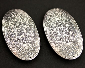 Two (2) Norse Apron Pins. Oval Brooches. Viking Brooches. Stamped Silver Brooches. Viking Jewelry. Shoulder Brooches. Historical Jewelry.