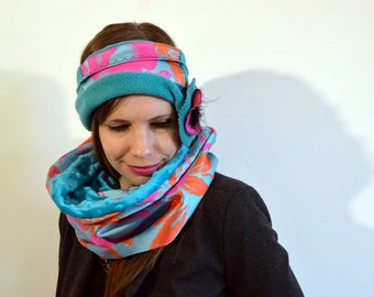 blue headband with satin with pink and orange