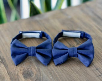 Bow Tie - Navy Blue Cotton Bow Tie for Baby, Toddler, Child, Adult