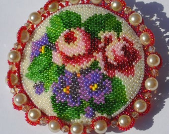 Handmade Vintage Beaded Brooch Violet & Rose Flowers On White With Box