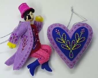Twelve Days of Christmas Lord-A-Leaping Felt Ornament