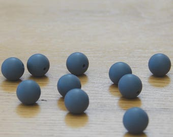 STEEL GREY silicone beads//15mm Round Silicone beads- 10 pack