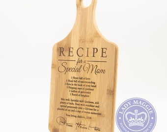 Personalized Mom Cutting Board - Hand Signed Recipe for Special Mom 13.5x9.75 Cutting Board - Mothers Day Custom Engraved Signature Board