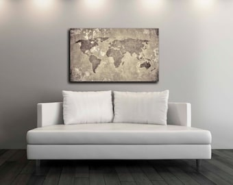 Pixel perfect by pixelperfect12 on etsy vintage world map canvas print wall decor world map canvas print world map art decor large wall art gift idea pxwm08 c gumiabroncs