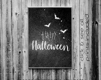 Happy Halloween Handlettering Print,Halloween Modern Calligraphy Download,Halloween Black and White Printable, Happy Halloween Art Decor