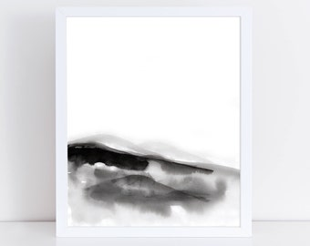 Watercolor Mountain Art Print. Modern Minimalist Abstract Landscape Painting. Instant Download Wall Art. Printable Decor