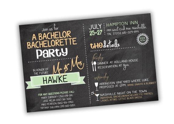 bachelor bachelorette party invitation  customizable colors
