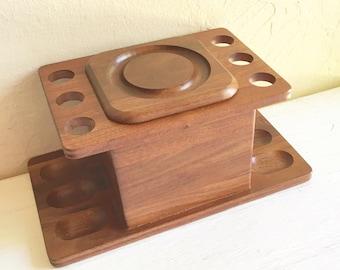 SALE - Beautiful Vintage Wood Pipe Rack Holder and Humidor Tobacco Box Elegant Design