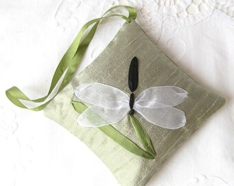 Dragonfly lavender sachet, embroidered dragonfly, green silk hanging sachet, embroidered insect, closet freshener, ribbon embroidery