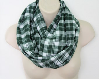 green and white plaid infinity scarf, flannel Infinity Scarf -Circle Scarf -plaid Loop Scarf, woman Eternity Scarf, Fall Scarf, Winter Scarf