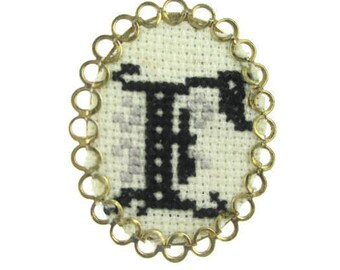 """NeedlePoint Initial  """"E"""" Pin/Monogram Needle Pointe Brooch/ Gold Tone Cameo Pin Brooch/Embroidered Letter Name Cameo"""