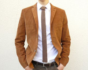 READY TO SHIP - Skinny Knit Tie - Tobacco Brown