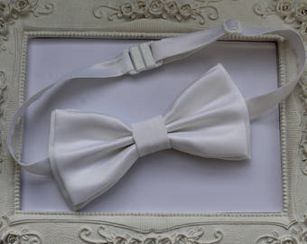 Bow tie Double mens white satin