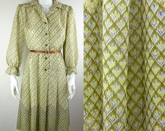 70s green chiffon dress wide collar | semi-sheer border print puffed sleeves Sz S-M uk 10-12 shirt day secretary dress Peter Barron vintage