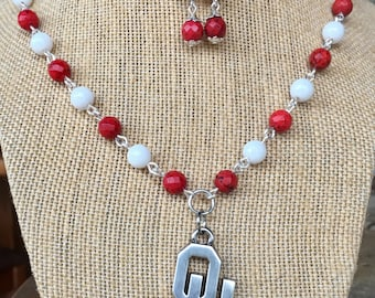 OU pendant beaded necklace and earrings, handmade with genuine jade and turquoise faceted beads