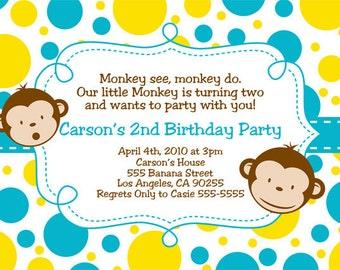 Mod Monkey Invitation