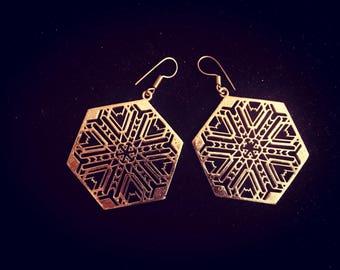 Gold Drop Earrings, Brass Hanging Earrings, Boho Indian Tribal Brass Gold Earrings, Hexagonal Sacred Geometry Mandala Earrings