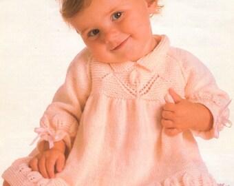 Vintage Knitting Pattern Knit Pretty Baby Leaf Border Dress PDF Instant Digital Download Long Sleeved 9-24 months DK 8 Ply