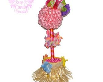 Hula Girl Lollipop Topiary, Hawaiian Theme Candy Buffet, Summer Party, Luau, Beach Wedding Centerpiece, Hula Candy Centerpiece, Barbeque