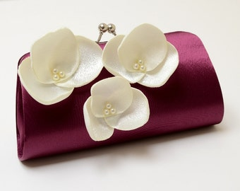 Egplant & Ivory Orchid Flower Bridal Clutch - Bouquet Clutch -  Pearls - Kisslock Snap Frame - Medium Size - Dark Plum Aubergine