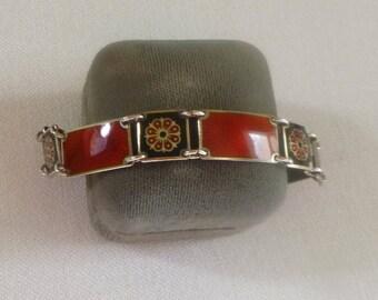 David Andersen Sterling Silver Guilloche Panel Bracelet in Brick Red, Vintage Norway Enamel Jewelry, Gift for Her