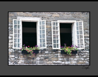 Montreal Summer Window Fine Art Photograph, Wall Art, Room Decor, Window Flower Box Photo, Shutters, Canada Image, Architecture Photo, Gift