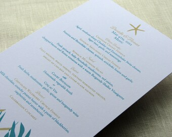 Starfish Menu - Beach Wedding Reception Dinner - Palm Leaf Print - Shower Birthday Anniversary Party