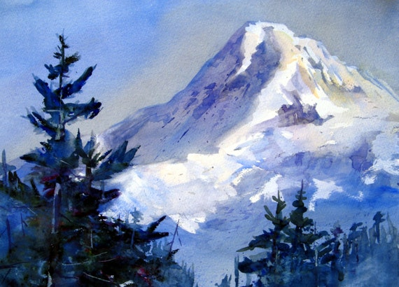 Mt. Hood 147 - signed watercolor print - Bonnie White - mountains - Columbia Gorge - Cascade Mountains - Pacific Northwest - Art