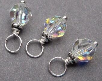 Birthstone Charm Swarovski AB Crystal Dangles, Swarovski Charms, Stitch Markers, Wine Charms,  6mm Swarovski Crystal Beads