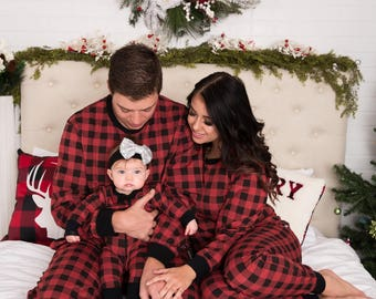 Holiday Family Matching Pajamas Red & Black Buffalo Check | Matching set | Christmas Jammies | Holiday PJ | Adult | Men | Women | Kids Baby