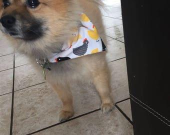 Chicken doggy bandana. Over the collar bandana. Dog bandana summer. Dog clothes. Puppy bandana. Dog collar.