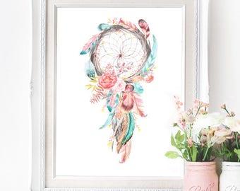 Dreamcatcher Poster - INSTANT DOWNLOAD - Southwest Native American Bohemian inspired Digital Art Print Wedding Art, Pastel Printable Design