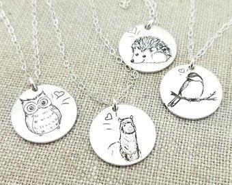 Animal Necklace · Personalized Necklace · Animal Jewelry · Personalized Jewelry · Hand Sketched Jewelry · Llama Necklace · Owl · Hedgehog