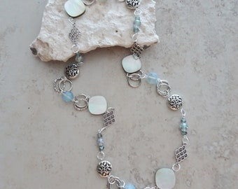 "Beaded Silver Chain Necklace - MOP Shell Bead Necklace - Opalite Bead Necklace - Silver Necklace - 26 "" Necklace - Boho Necklace"