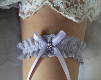 Bridal garter, Pastel purple wedding garter- made to measure 5cm wide