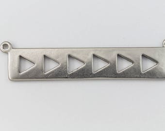 39mm Matte Silver Rectangle with Triangles Connector #MFB184
