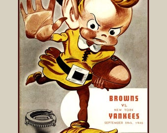 """Vintage Cleveland Browns Football Fan Poster, 1946 Retro Magazine Cover Art Print, Gift For Him Collectible Wall Art 8x10"""", 8x11"""", Free Ship"""